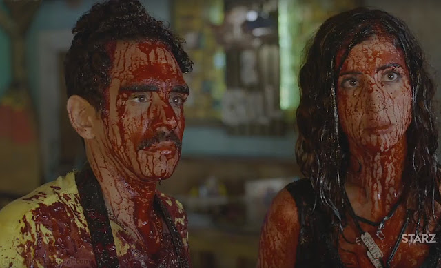 Starz TV Ash vs Evil Dead Bloody Heroes Ray Santiago as Pablo Simon Bolivar and Dana DeLorenzo as Kelly Maxwell
