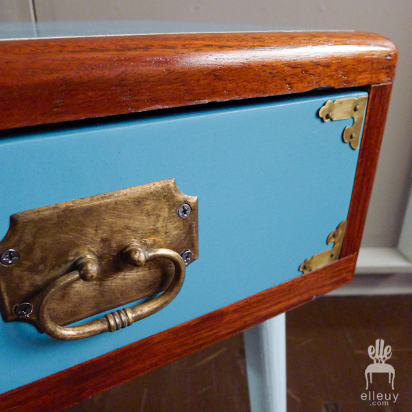 blue and wood vintage mid century mcm side table with brass hardware details