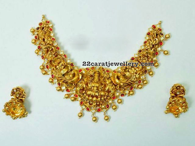 Lakshmi Peacock Choker Necklace Jhumkas
