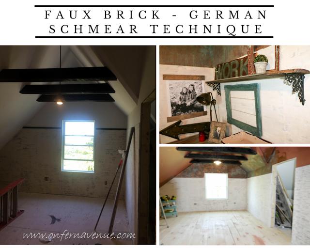 German Schmear on faux brick