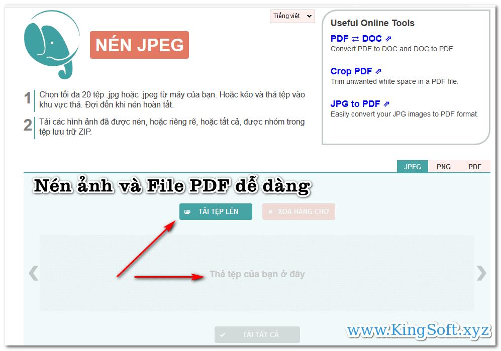 Hướng dẫn nén ảnh và File PDF trực tuyến