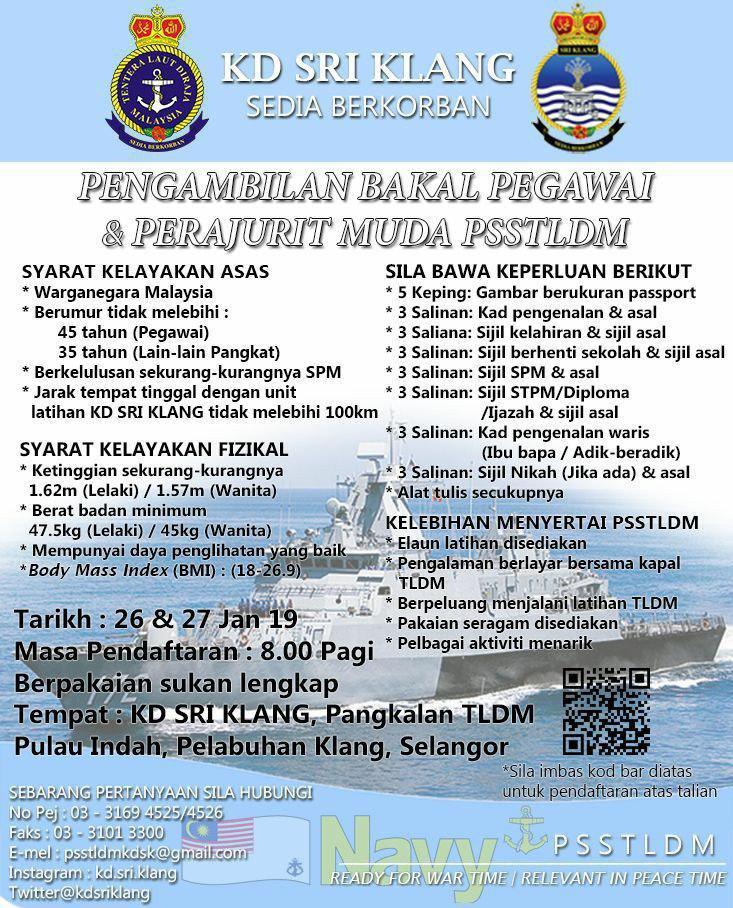 Pengambilan Bakal Pegawai Dan Perajurit Muda Tentera Laut Diraja Malaysia Tldm 26 27 Januari 2019 Kerja Kosong