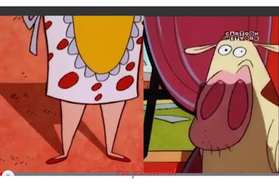 cow and chicken Inter-species Family characters: Grandmama and Grandpa look like normal people, Great Grandpa was a complete human but Great Grandma was a hen, Dad's brother is Professor Longhorn Steer, then their cousins include Boneless Chicken, Sow, Snail Boy and Black Sheep.