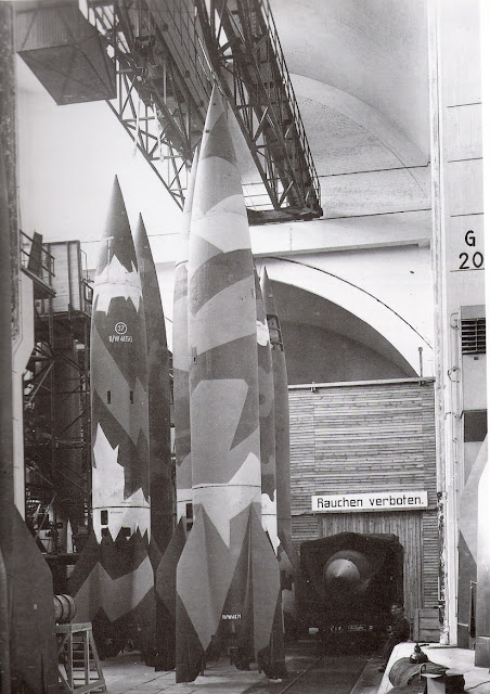 Military V-2 Rockets in a hanger at Peenemünde (1944)