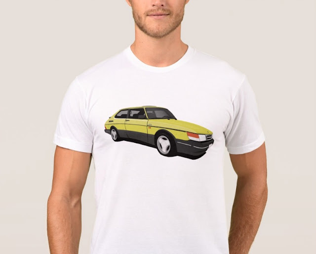 Saab 900 Turbo 16  Aero t-shirt classic car yellow
