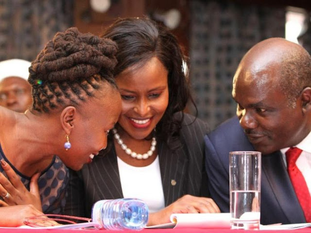 Former IEBC commissioner Akombe with her collegues in IEBC. PHOTO | Courtesy NMG