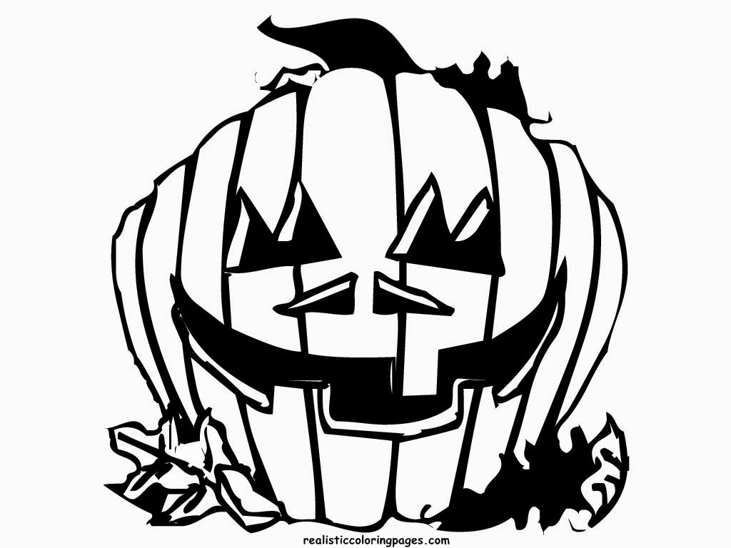 realistic halloween coloring pages | Pumpkin Color Realistic Coloring Pages