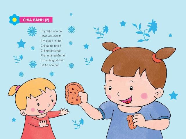 tranh minh họa bài thơ mầm non chủ đề gia đình (Chia bánh)