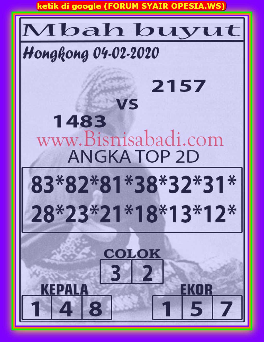 Kode syair Hongkong Selasa 4 Februari 2020 95