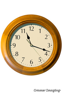 Cramer Imaging's professional quality stock photograph of a wooden wall clock on a white background