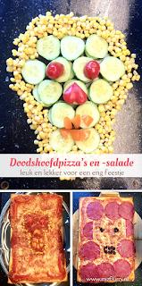 Doodshoofdpizza's en -salade - leuk en lekker voor een eng feestje