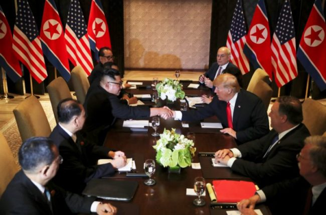 Donald Trump And Kim Jong-Un Finally Share Historic Handshake In Singapore (Photos)