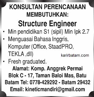 Lowongan Kerja Stucture Engineer Lulusan S1 (Kinetic Mandiri)