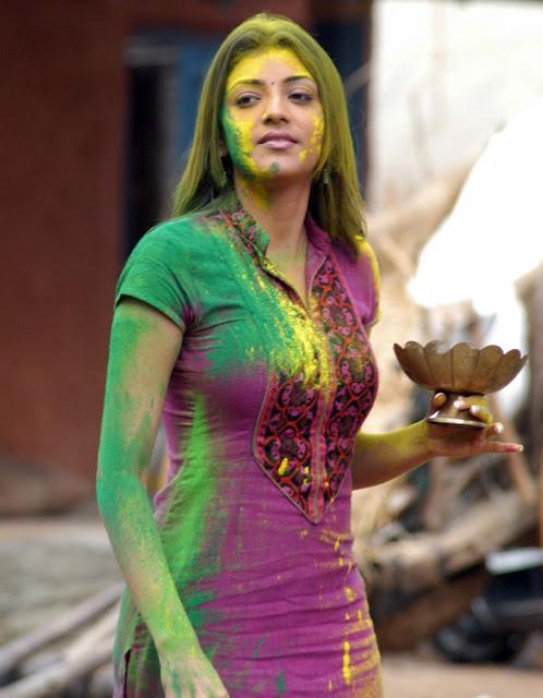 Bollywood South celebrity  Kajal Agarwal s holi hd hq fotos gallery