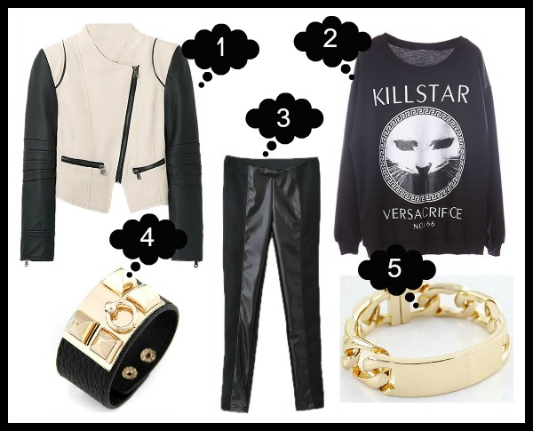 1. Biker Jacket 2. Killstar Versacrifice Sweatshirt 3. Leggings 4. Leather Bracelet 5. ID Bracelet - ROMWE Latest Street Fashion