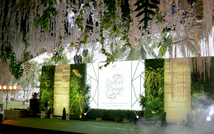 Greens and Strings: The 2018 Annual Clients' Appreciation Night stage set-up