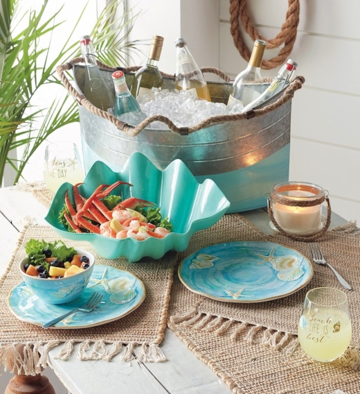 Pastel Blue Coastal Beach Outdoor Summer Table Dinnerware Serveware