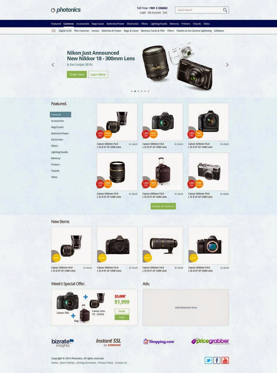 E commerce Camera Store Website Template