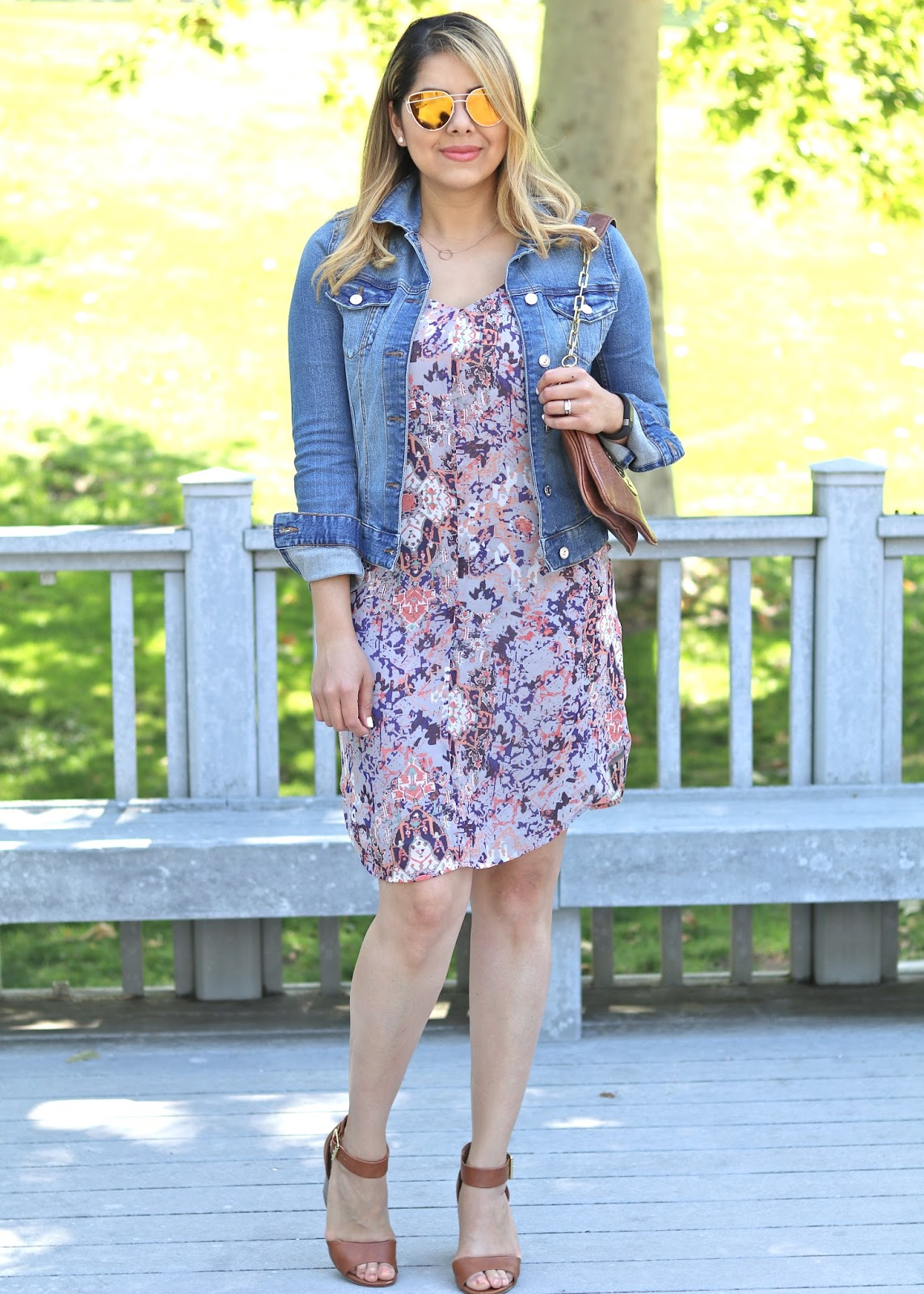 dainty necklace, what to wear this summer, summer dress and jean jacket, casual stroll outfit, lunch outfit