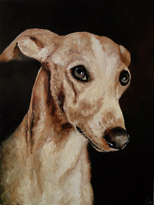 He's making eyes at me, a dog painting, a whippet painted in oils, pet portrait by Karen