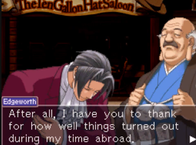 Miles Edgeworth Ace Attorney Investigations Ernest Amano study abroad bow