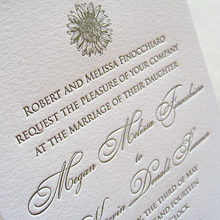 simple sunflower letterpress wedding invitation
