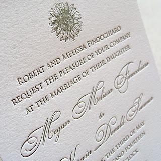 simple sunflower letterpress wedding invitation