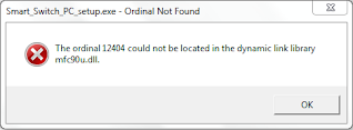 The ordinal 12404 could not be located in the dynamic link library mfc90u.dll