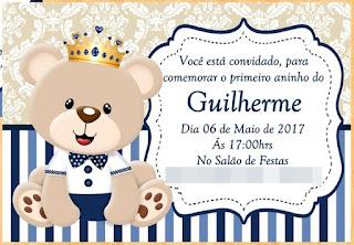 Convites Silverbeco Ursinho