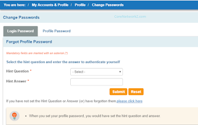 sbi online net banking profile password reset form