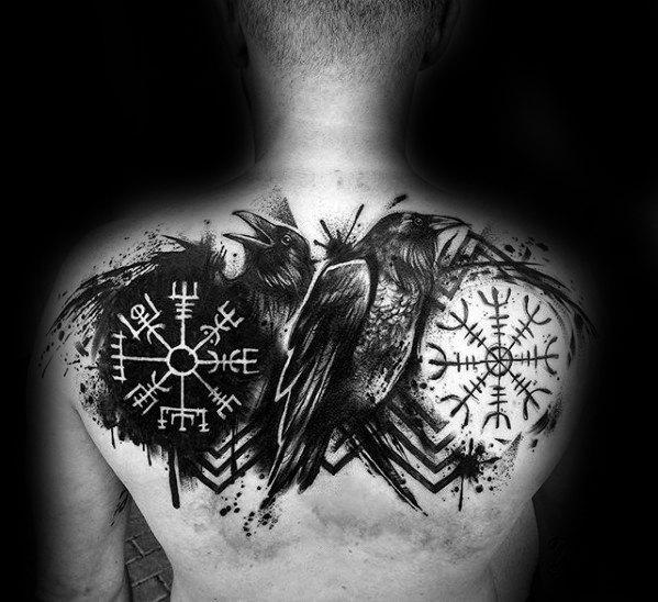 Tatuaje de vegvisir con cuervos
