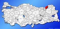 Rize ilinin Türkiye haritasında gösterimi