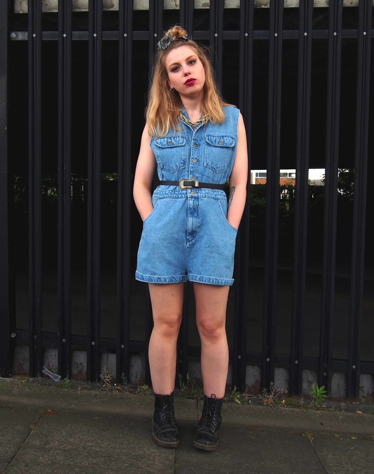 rokit vintage, vintage denim playsuit, vintage gold chain necklace, dr martens, festival inspiration outfit ootd, festival fashion style, vintage summer outfit ootd 1
