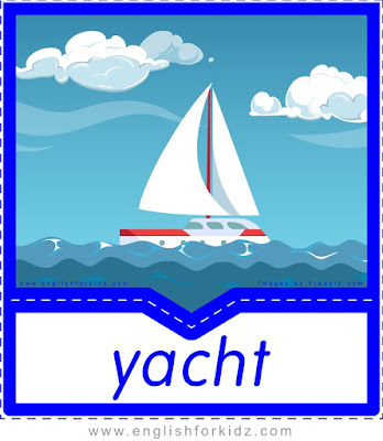 Yacht printable transportation flashcard with picture