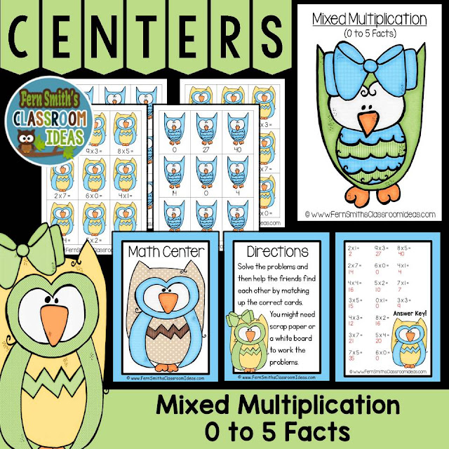 Fern Smith's Classroom Ideas Mixed Multiplication Math Center Games 0 to 5 Multiplication Facts at TpT, TeacherspayTeachers.