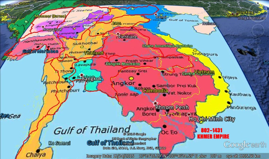 khmer empire The khmer empire (khmer: ចក្រភពខ្មែរ ឬ អាណាចក្រខ្មែរ), officially the angkor empire (khmer: ចក្រភពអង្គរ), the predecessor state to modern cambodia (kampuchea or srok khmer to the khmer people), was a powerful hindu-buddhist empire in southeast asia.