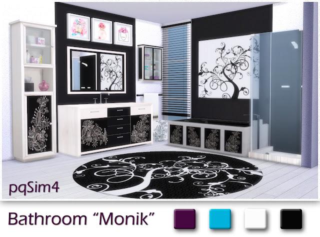 Ванные комнаты (модерн) - Страница 5 Bathroom-Monik-Sims4-CC-blanco