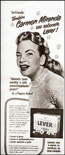 Propaganda do Sabonete Lux com Carmem Miranda, apresentado em 1955.