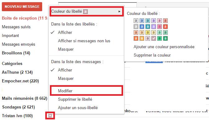 Personnaliser un libellé sur Gmail