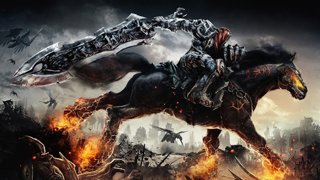Darksiders - War sur son Cheval de Feu - Fond d'Écran en Full HD
