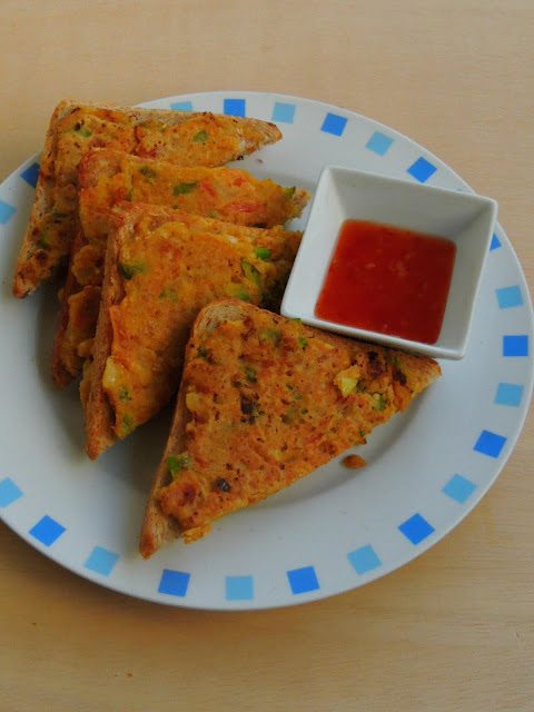 Vegetarian Besan Bread Toast, Gramflour Bread Toast