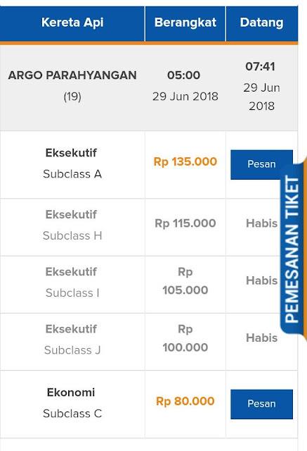 daftar harga tiket kereta api tersedia