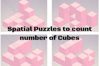 Spatial Puzzles to count number of Cubes in given figures with answers
