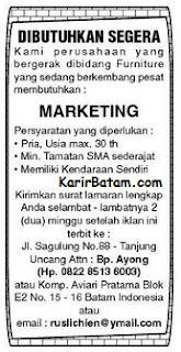 Lowongan Kerja Marketing Khusus Pria