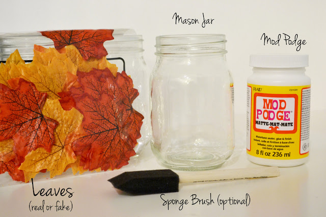Making DIY Candle Holder with Autumn leaf and mason Jar: DIY Crafting Idea
