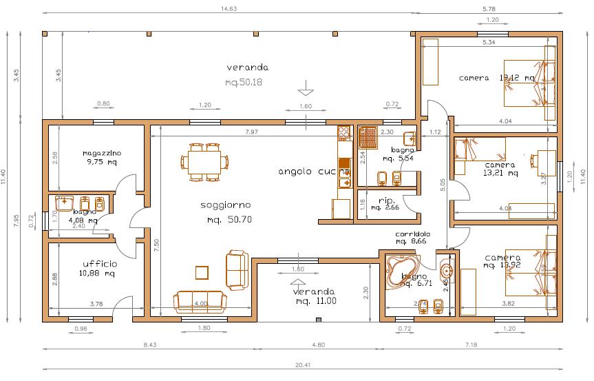 Progetti di case in legno casa 171 mq porticati 61 mq for Progetti di case