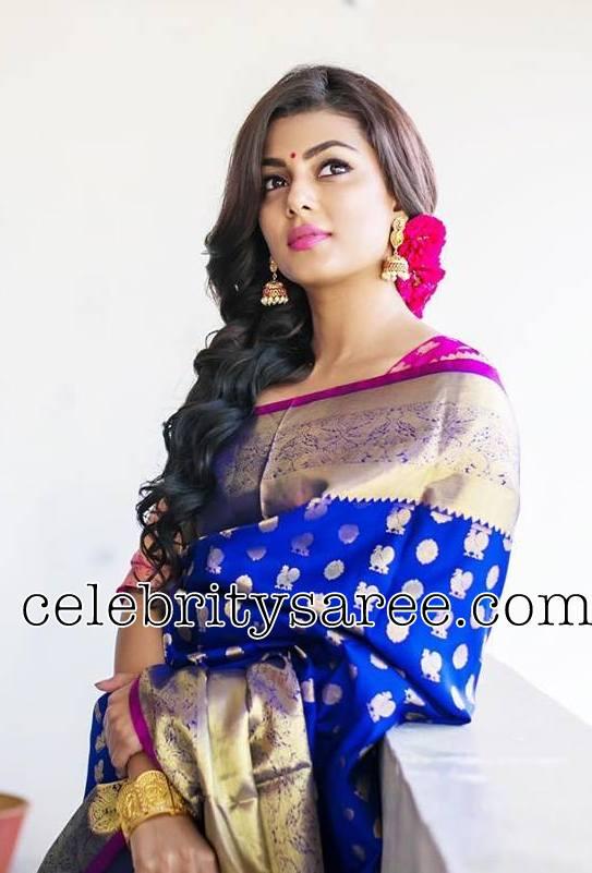 Anisha Amborse Kanjeevaram Saree