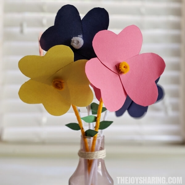 Easy paper flower preschool crafts