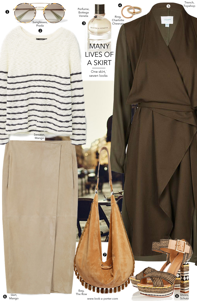 7 ways to style a suede midi skirt for spring/summer outfit ideas via www.look-a-porter.com style & fashion blog / outfit inspiration daily / featuring Mango, Prada, The Row, Schutz, Topshop