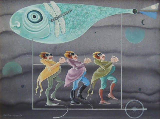 Rovira Brull pintura surrealista pez avión